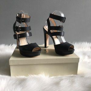 Coach Burnished Bliss black sandal heels